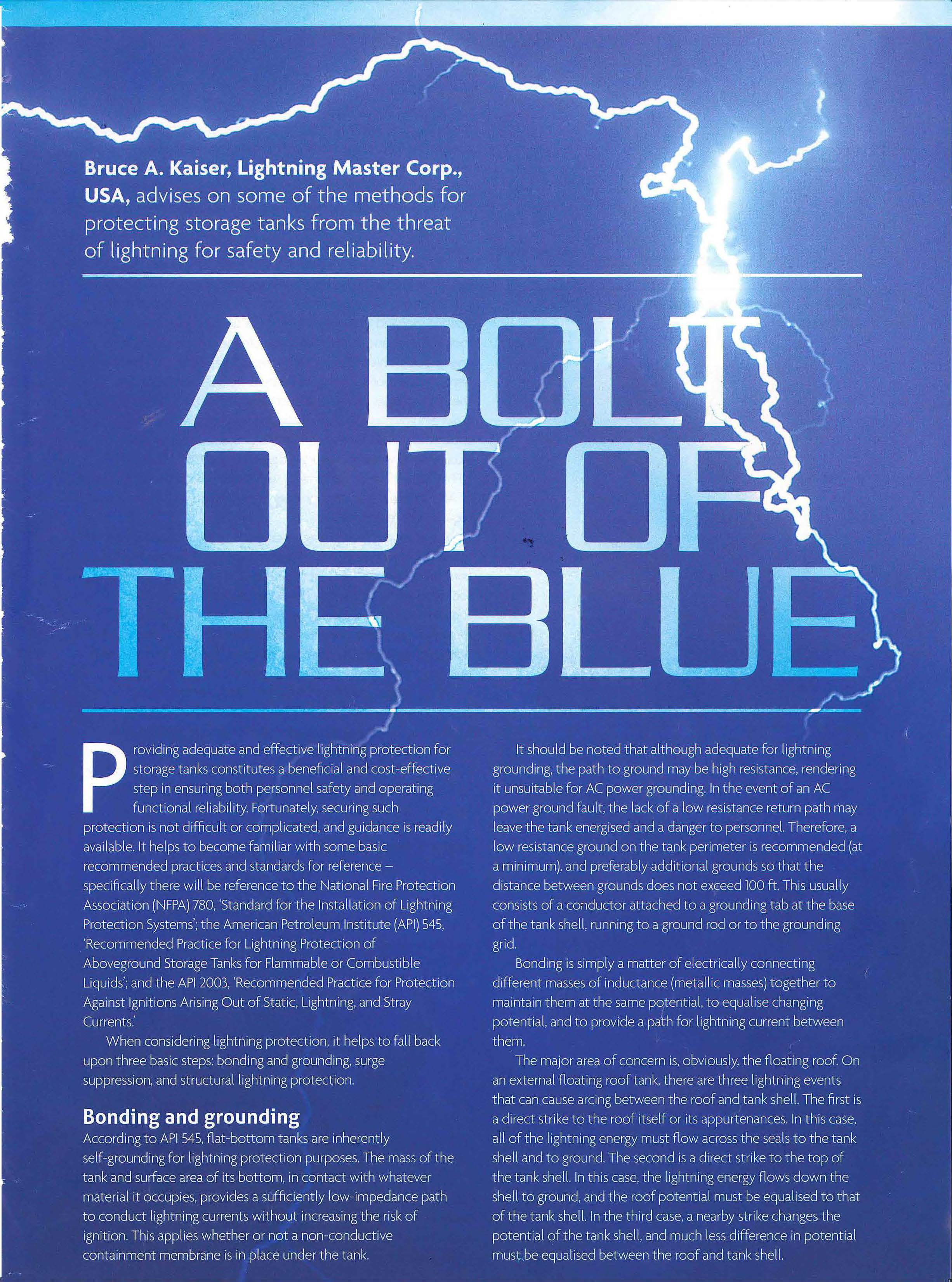 65b743c3900 A Bolt Out Of The Blue - Published in Tanks   Terminals Fall 2017 ...